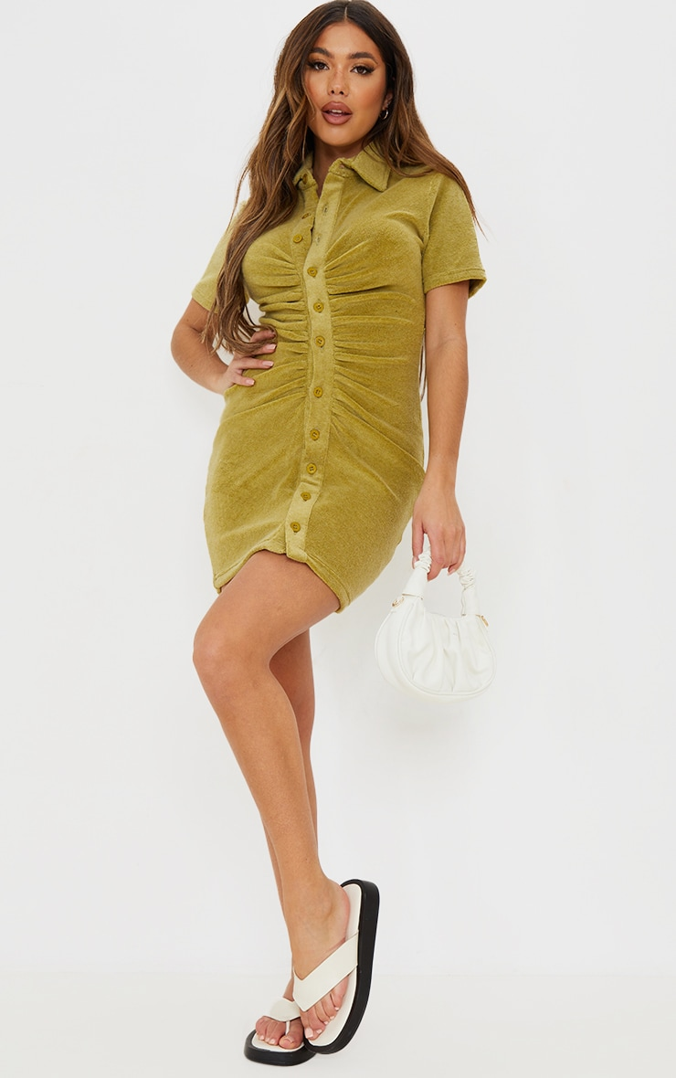 Olive Ruched Button Down Collar Detail Towelling Bodycon Dress image 3