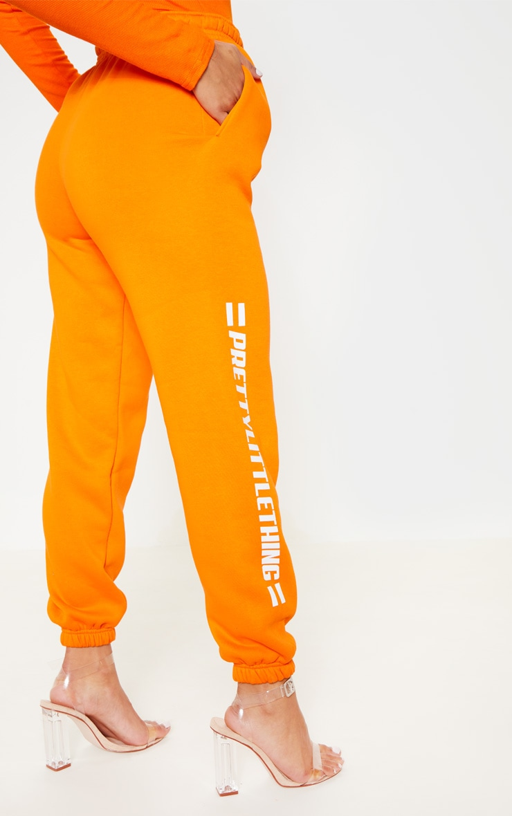 PRETTYLITTLETHING Bright Orange Logo Stripe Jogger 4
