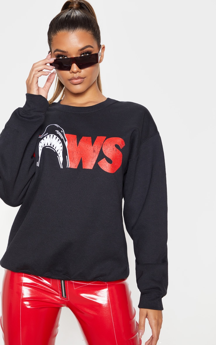 black-jaws-slogan-oversized-sweater by prettylittlething