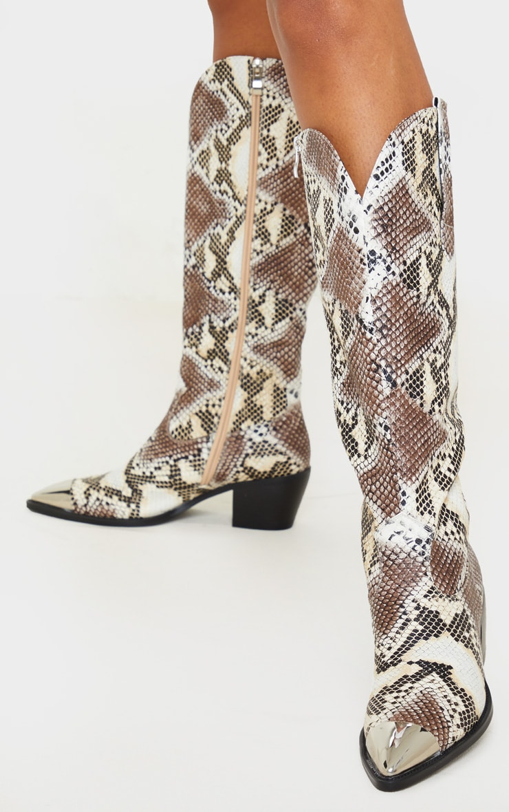 Snake Metal Toe Calf Western Boots 2