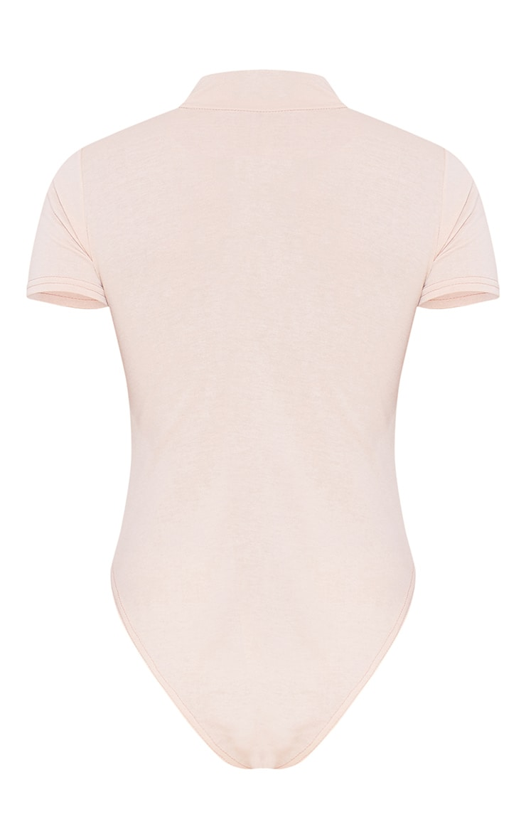 RECYCLED Deep Nude Roll Neck Short Sleeve Bodysuit 4