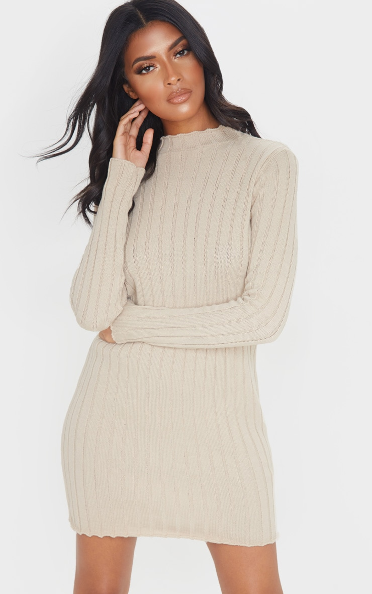 Stone Frill Edge High Neck Knit Dress 1