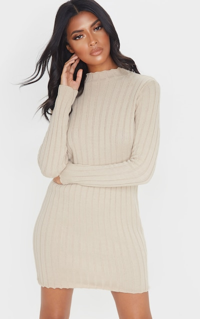 Stone Frill Edge High Neck Knit Dress