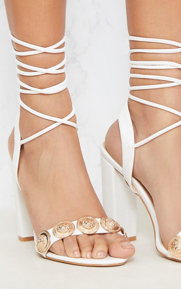 White Coin Studded Leg Tie Block Heel Sandal 5