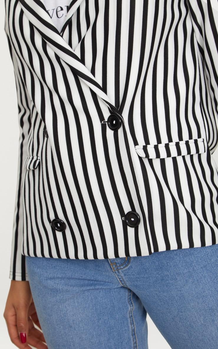 Black Monochrome Stripe Double Breasted Blazer 5