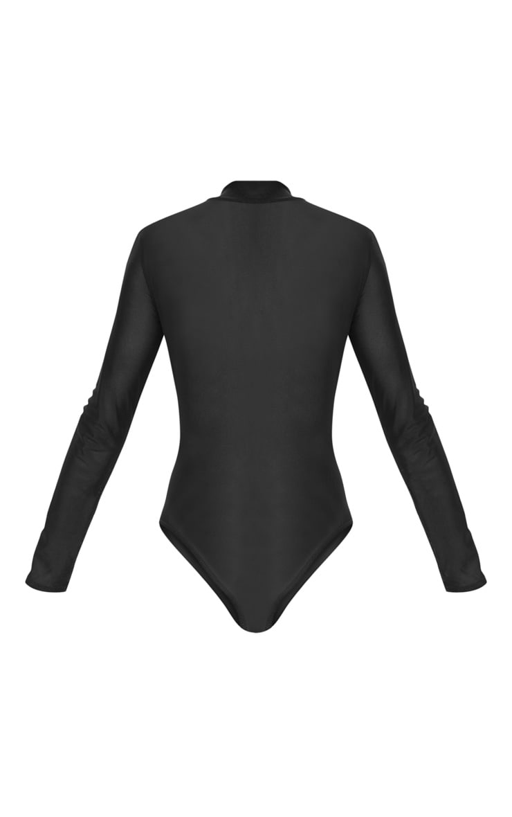 Aurban Black Mesh High Neck Longsleeve Thong Bodysuit 4