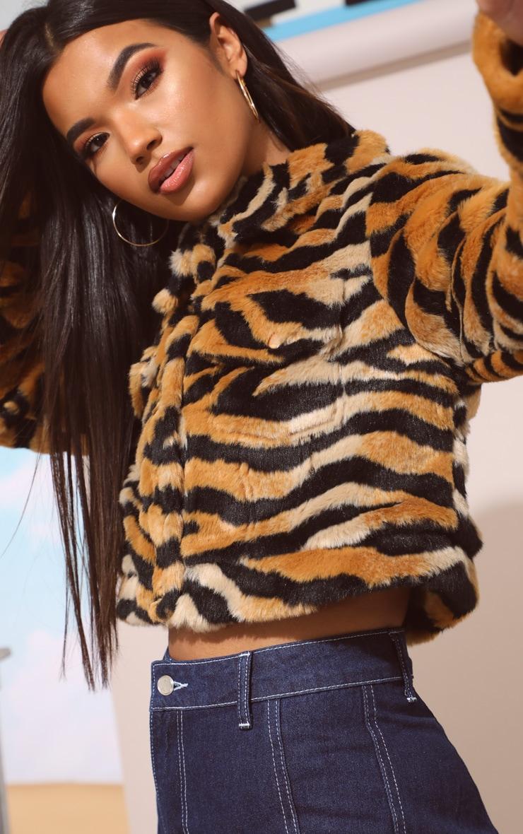 Tiger Print Faux Fur Crop Jacket 6