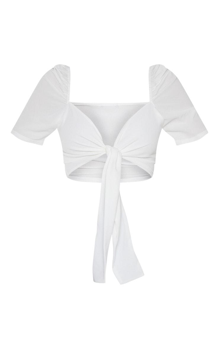 White Puff Short Sleeve Tie Crop Blouse 5