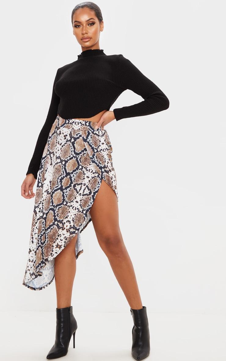 Tan Snake Print Asymmetric Skirt 1