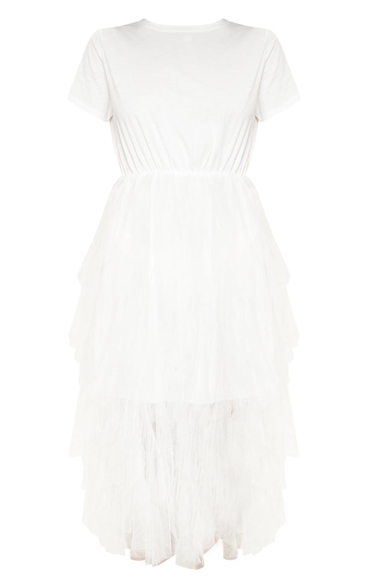 White Tulle Detail T Shirt Dress 3