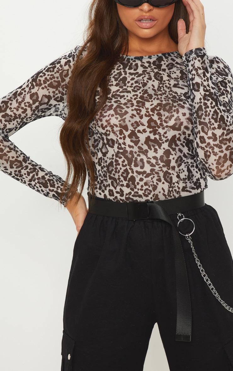 683f0420a7c3 Grey Mesh Leopard Print Long Sleeve Top | PrettyLittleThing