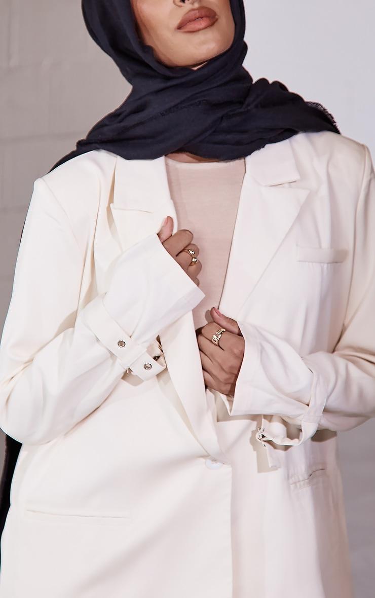Cream Woven Button Front Buckle Cuff Oversized Blazer 4