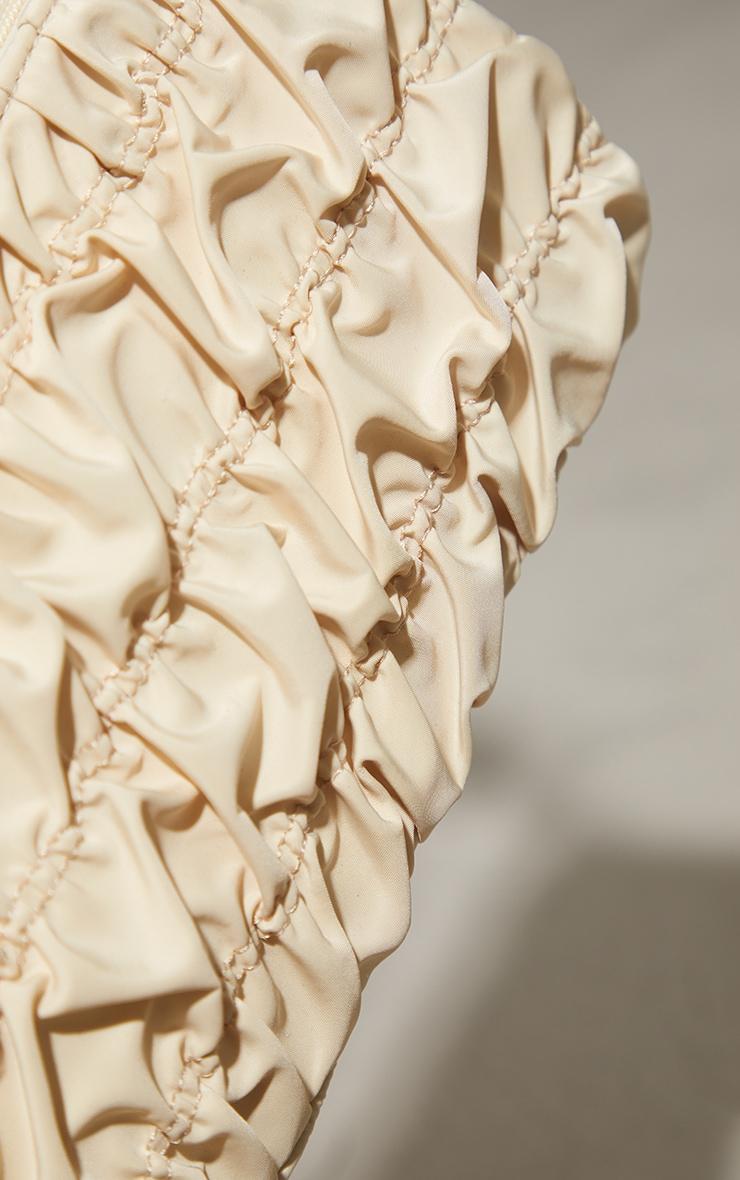 Cream Nylon Ruched Shoulder Bag 4
