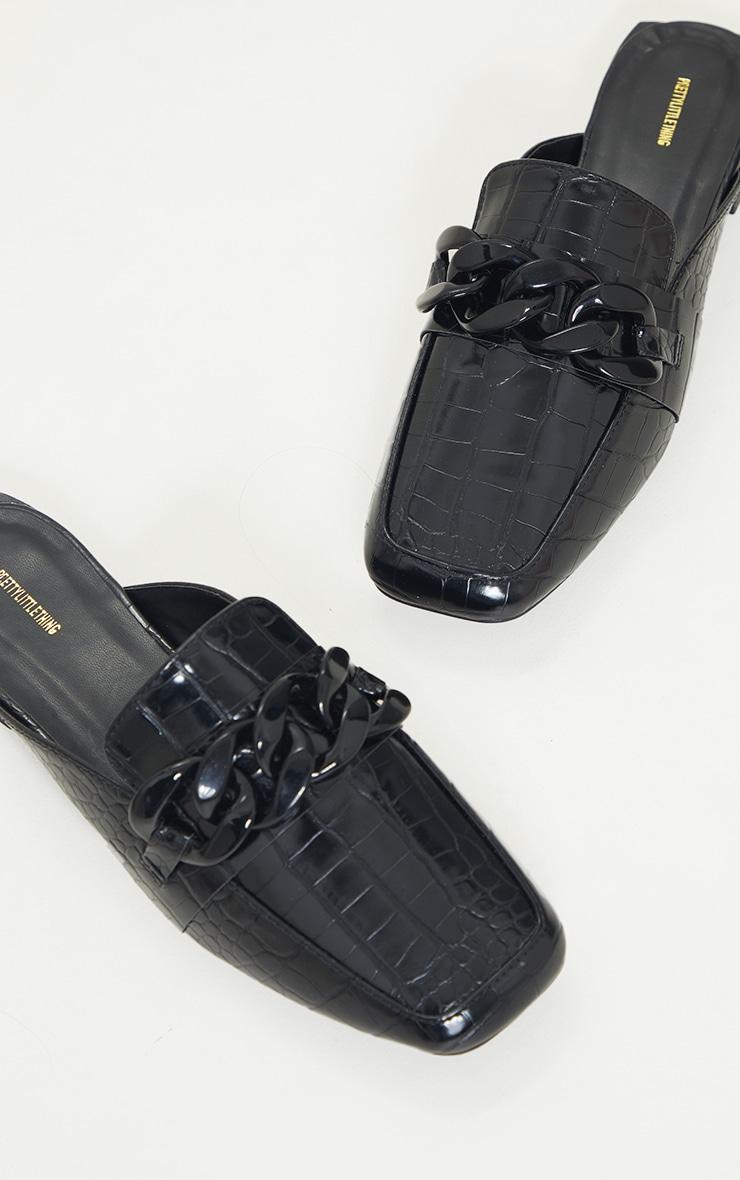 Black PU Croc Chain Detail Mules 4