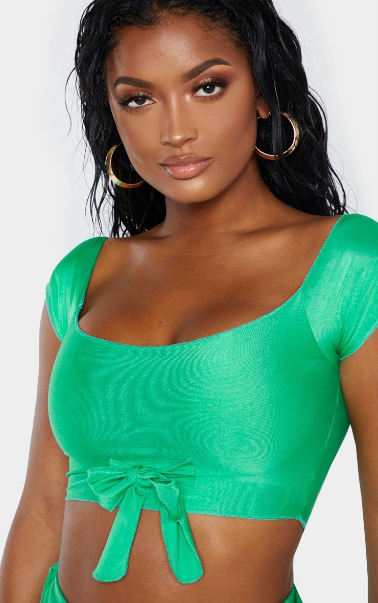 Shape Bright Green Bardot Tie Front Bikini Top 5