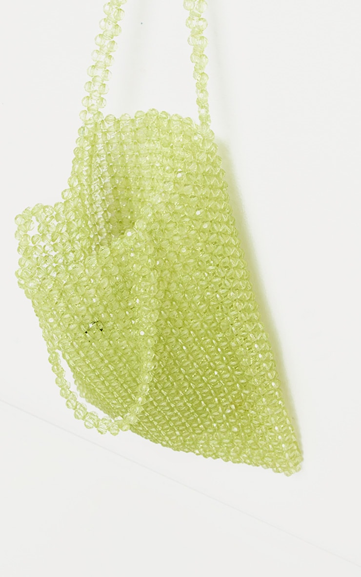 Lime Beaded Tote Bag 2