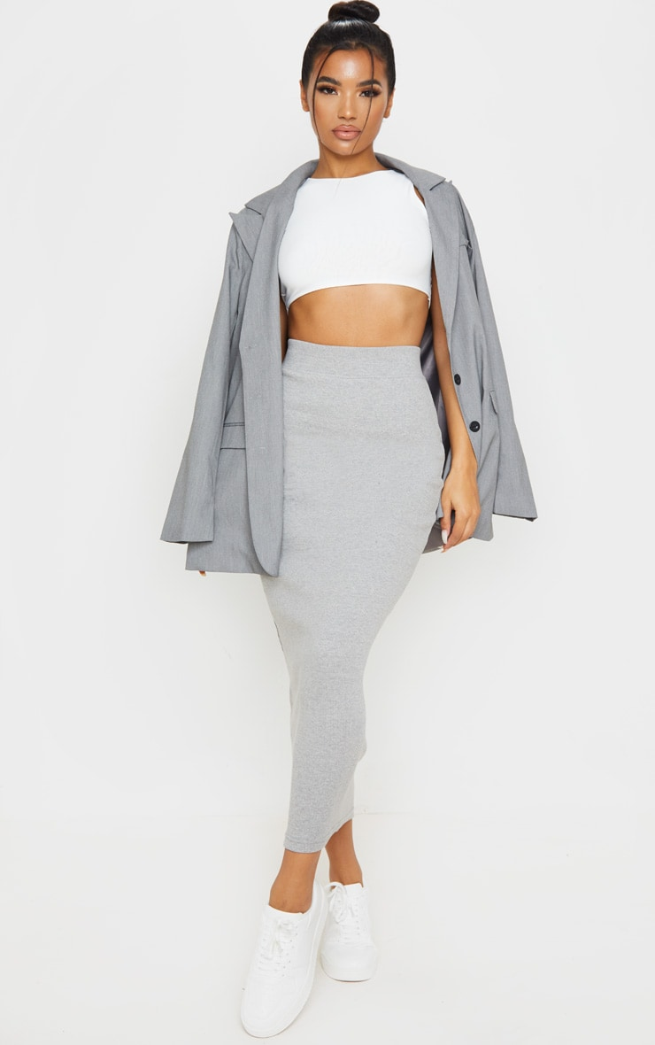 Grey Heavy Rib Bodycon Maxi Skirt 1