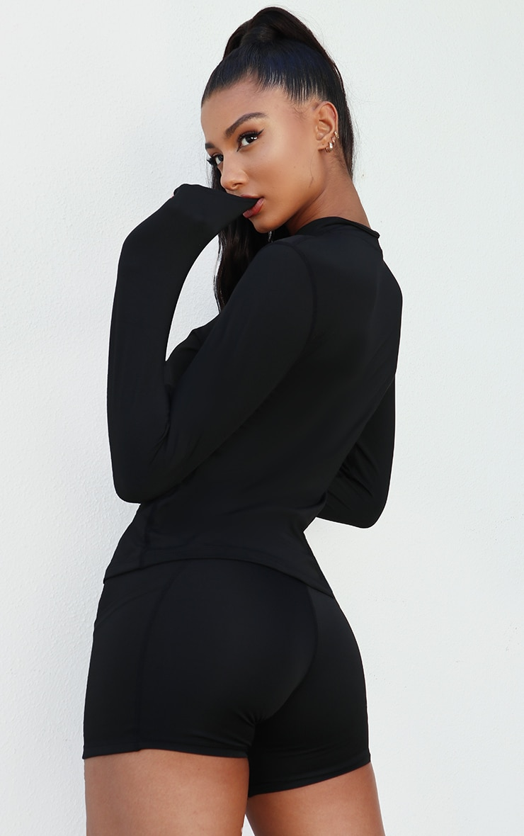 Black High Neck Half Zip Gym Top 2