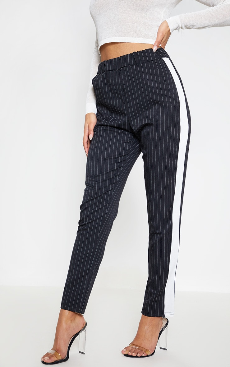 Black Pinstripe Formal Side Stripe Trouser 2