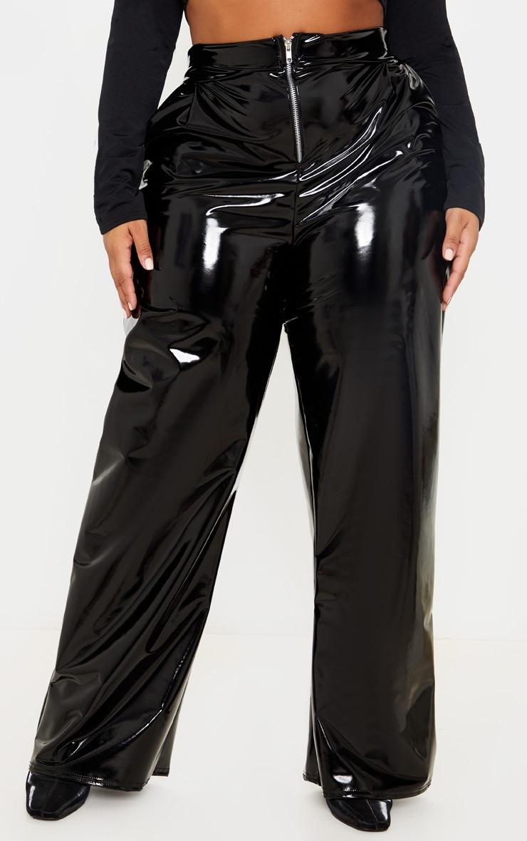 Plus Black Vinyl Wide Leg Pants  2