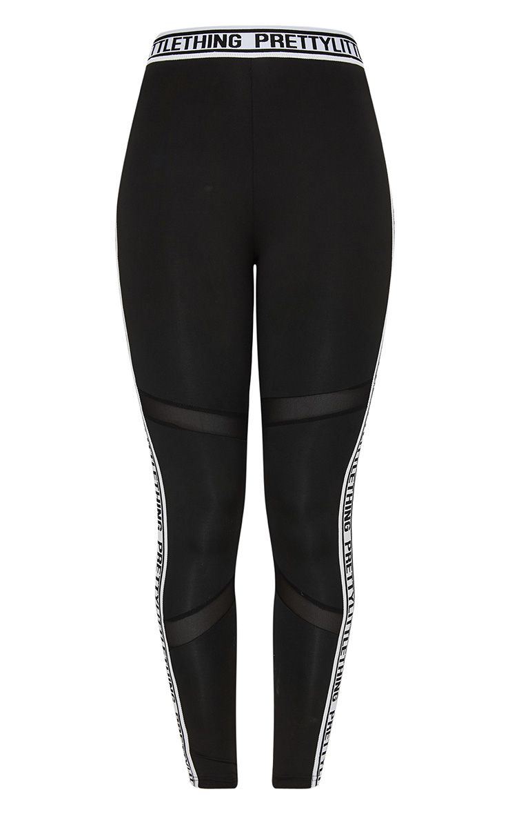 PRETTYLITTLETHING Black Band Leggings 3