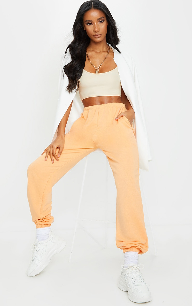 Peach Basic Cuffed Hem Joggers 1