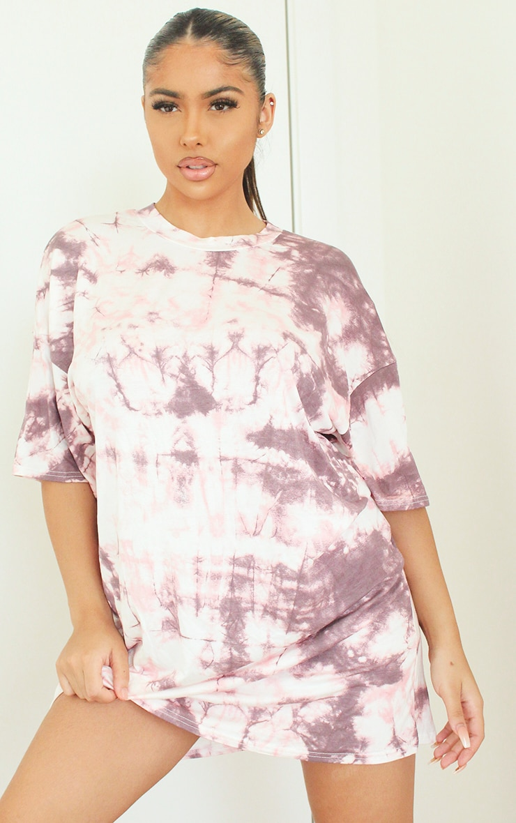 Pink Tie Dye Tee Shirt Dress 4