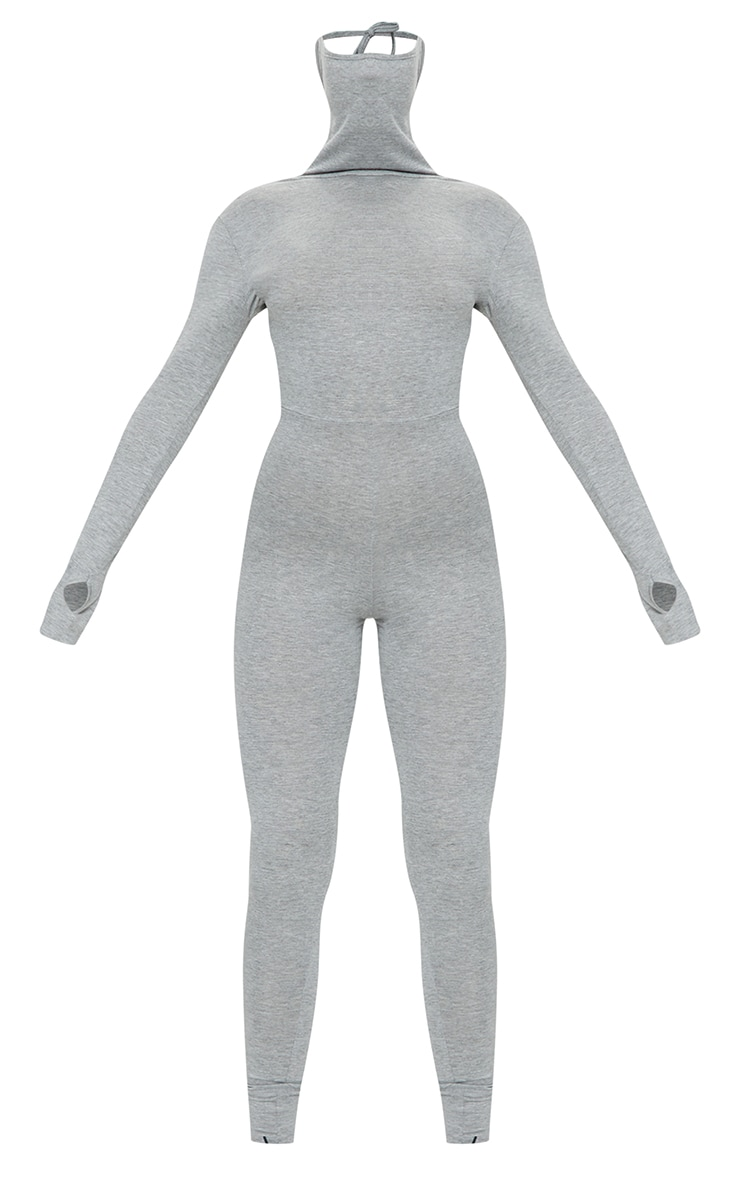 Grey Marl Long Sleeve Mask Jumpsuit 5