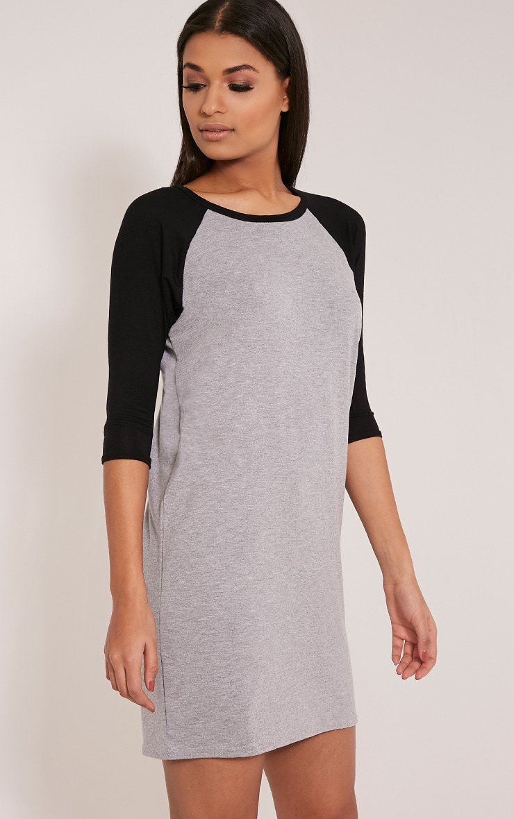 Kalei Grey Contrast Raglan Sleeve T Shirt Dress 4
