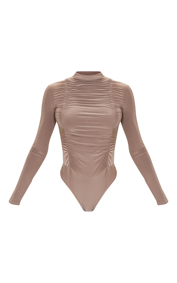 Tall Taupe Jersey Draped High Neck Bodysuit 5