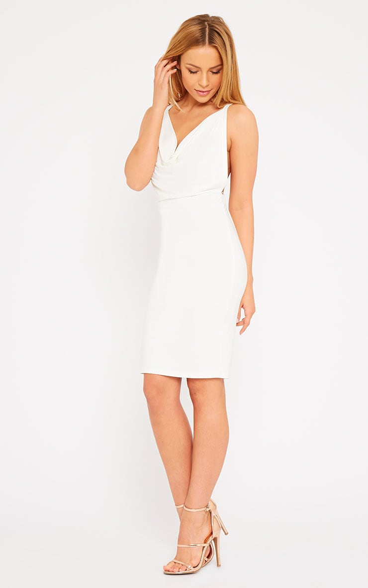 Orion Cream Slinky Cowl Neck Dress 5