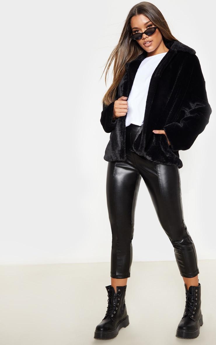 Black Oversized Faux Fur Jacket 4