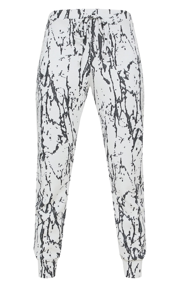 White Marble Effect Jacquard Track Pants 3