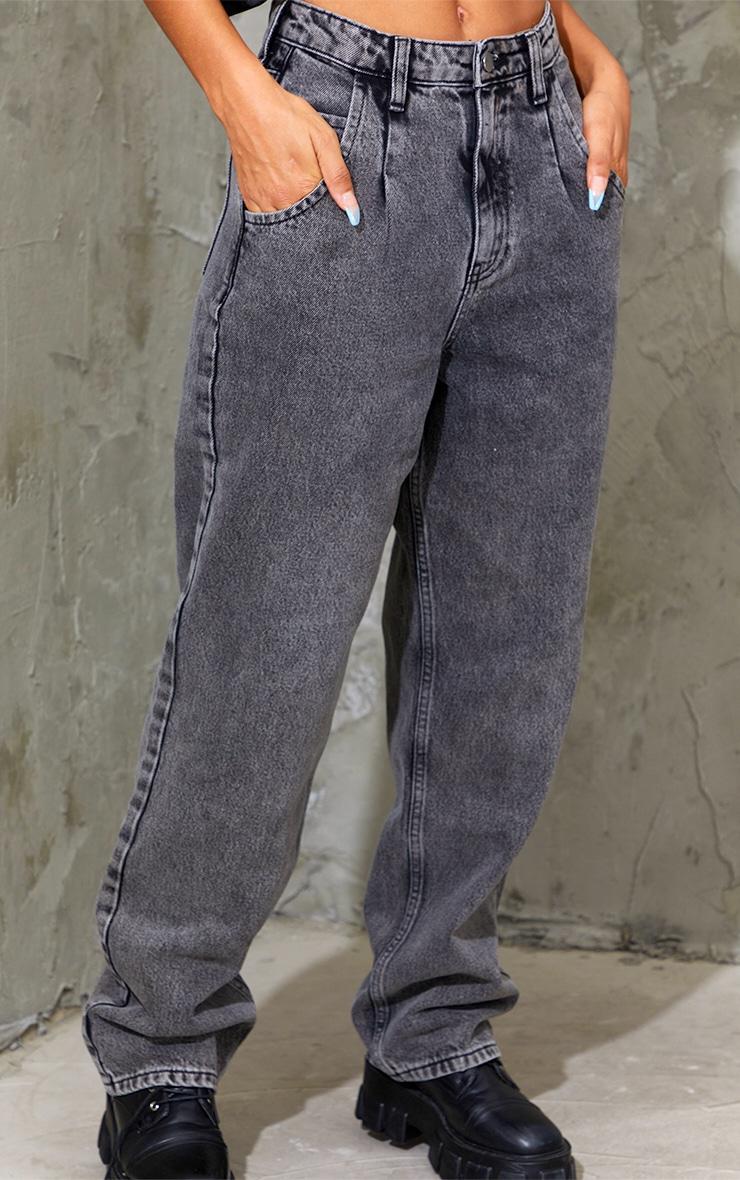 Washed Black Seam Detail Wide Leg Jean 4