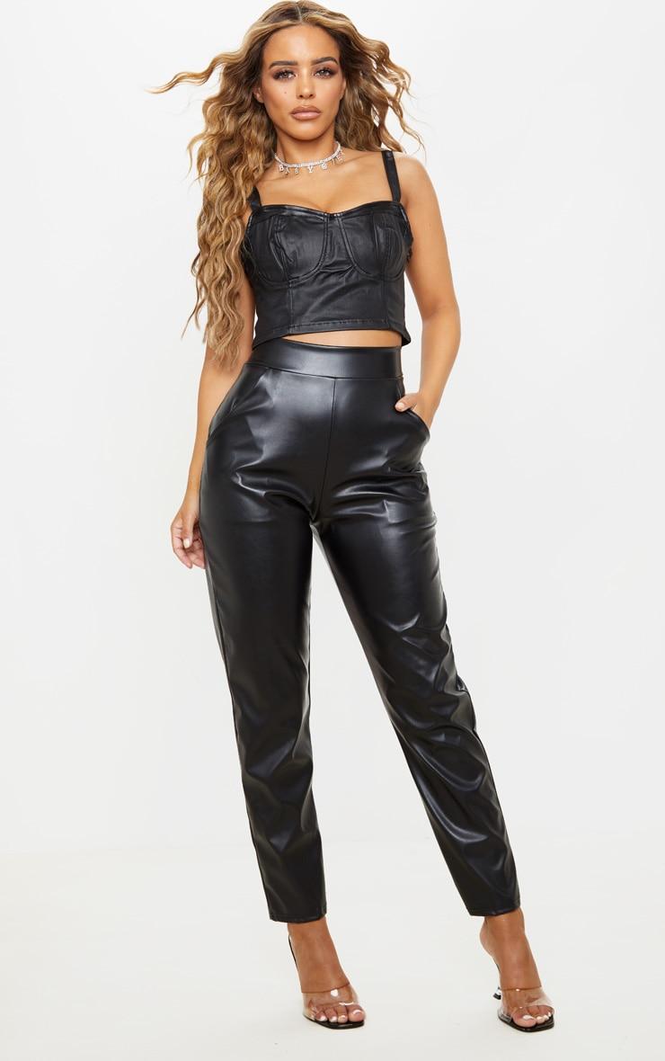 Petite Black High Waisted PU Trouser 1