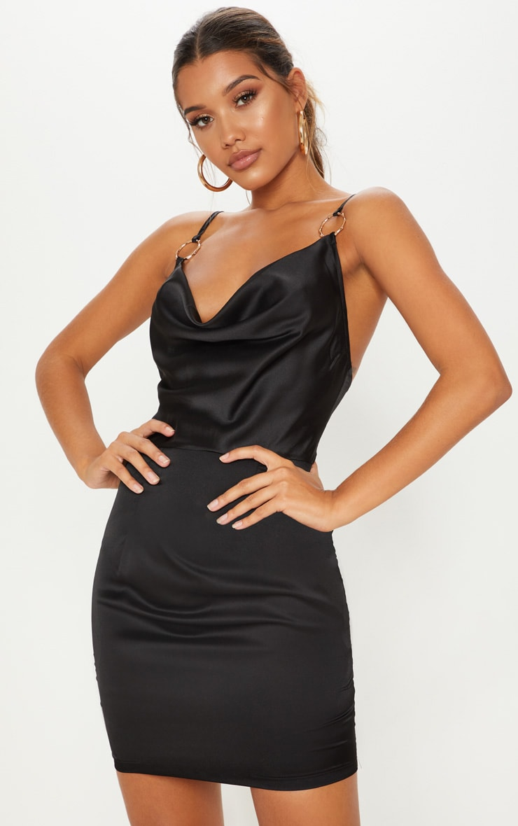 Black Satin Cowl Neck Ring Detail Bodycon Dress 1
