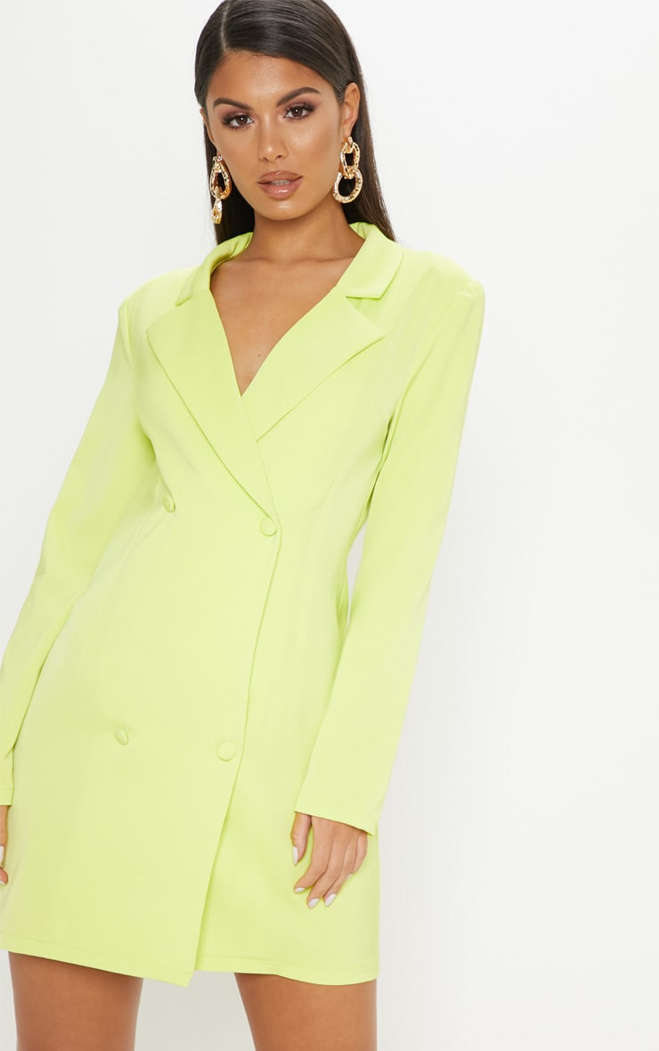 Neon Lime Long Sleeve Blazer Dress 4