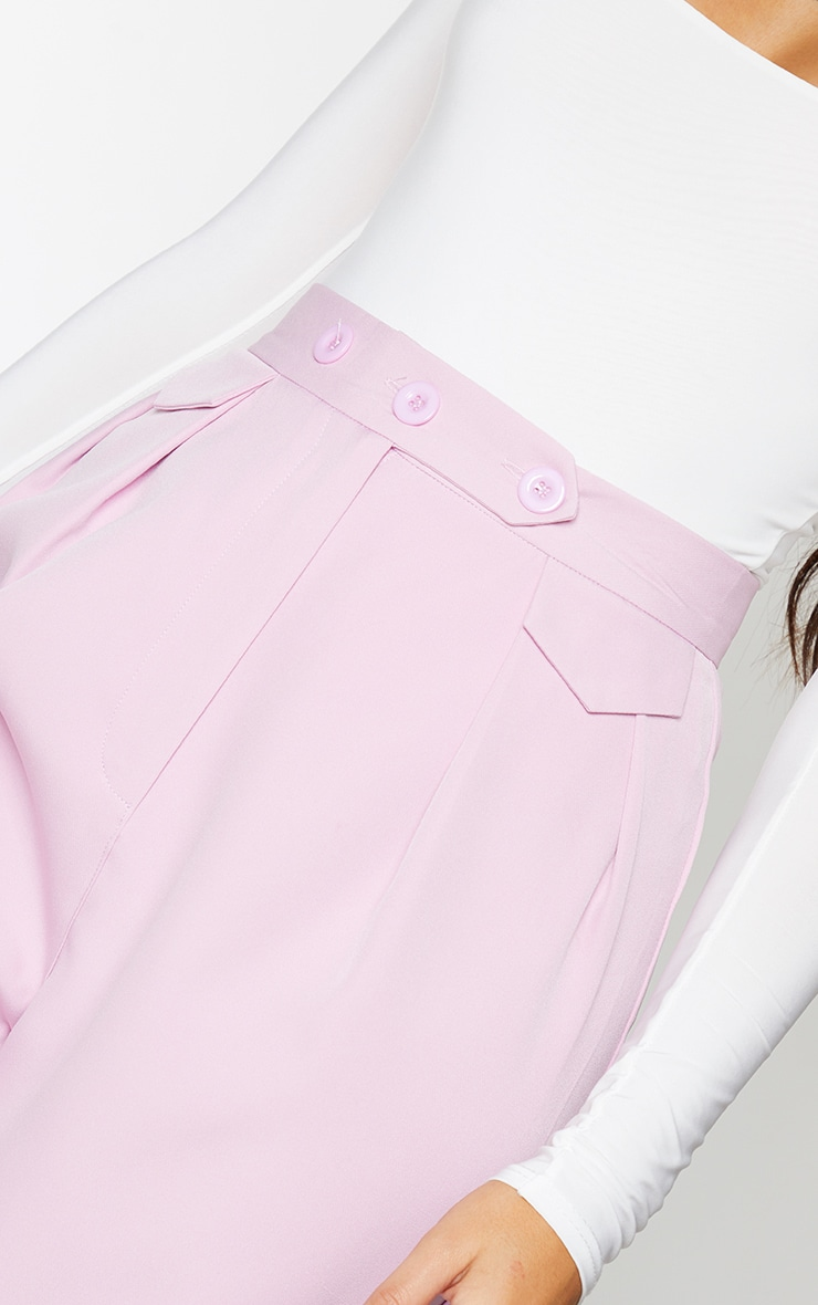 Lilac Tapered Button Front Pants 4