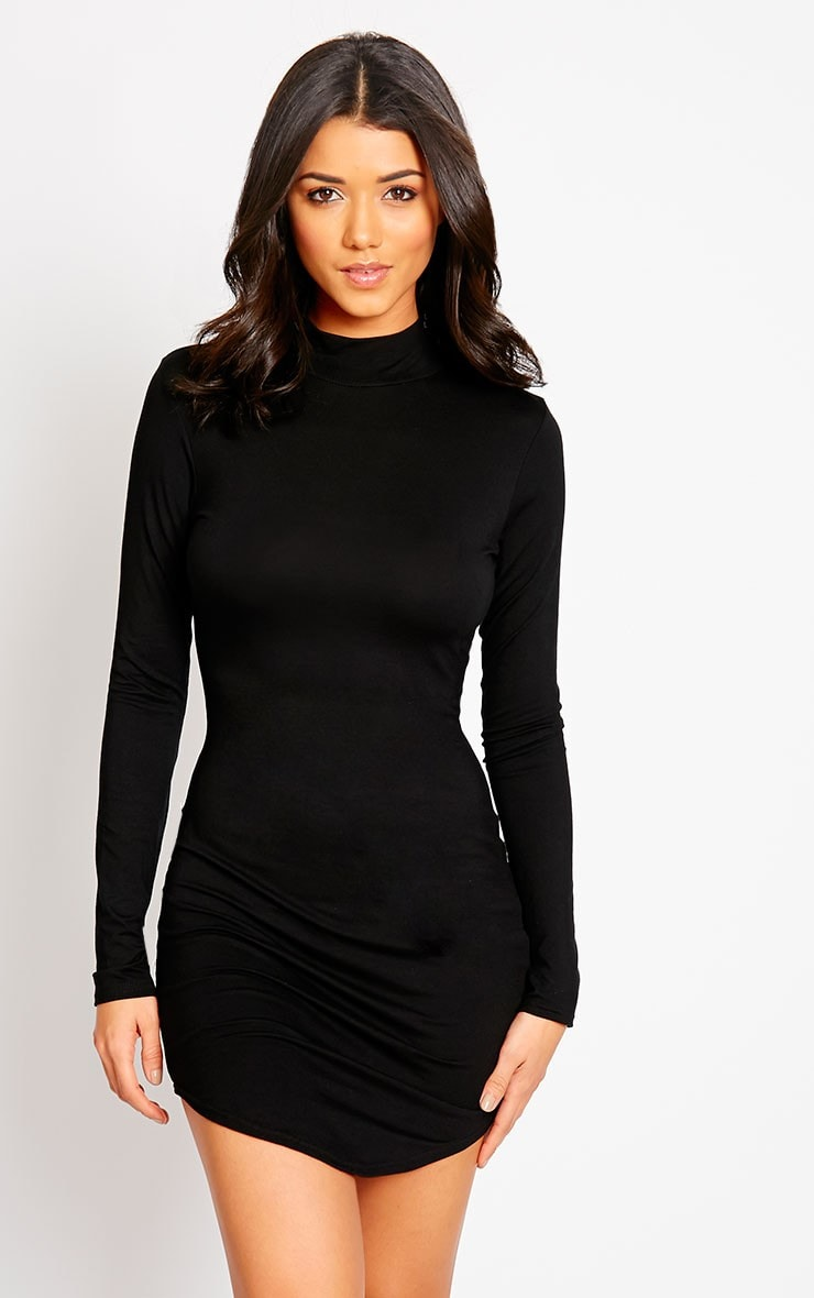Petite Alby Black Curve Hem Dress 1