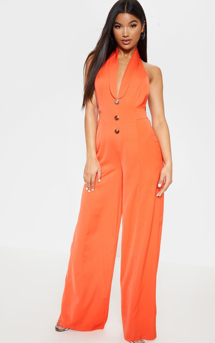 Bright Orange Halterneck Lapel Detail Jumpsuit 4