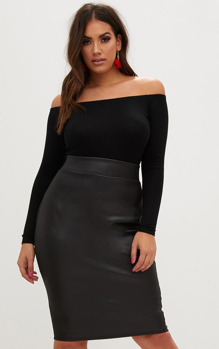 Plus Black Zip Back PU Midi Skirt 1