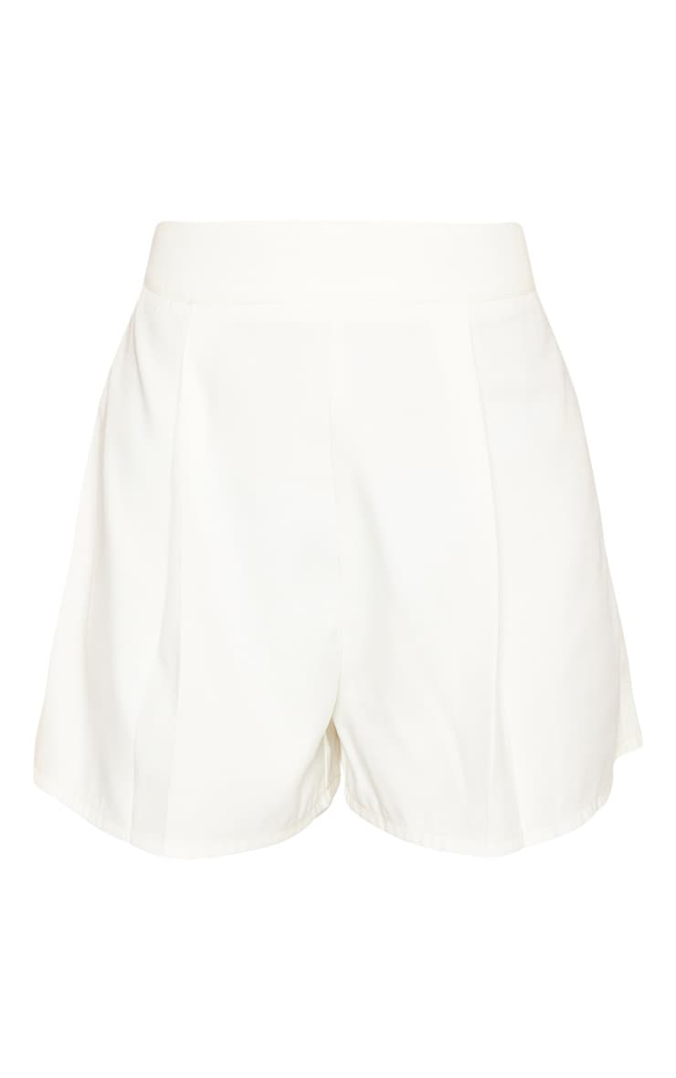 White Woven Pleat Front Tailored Short  3