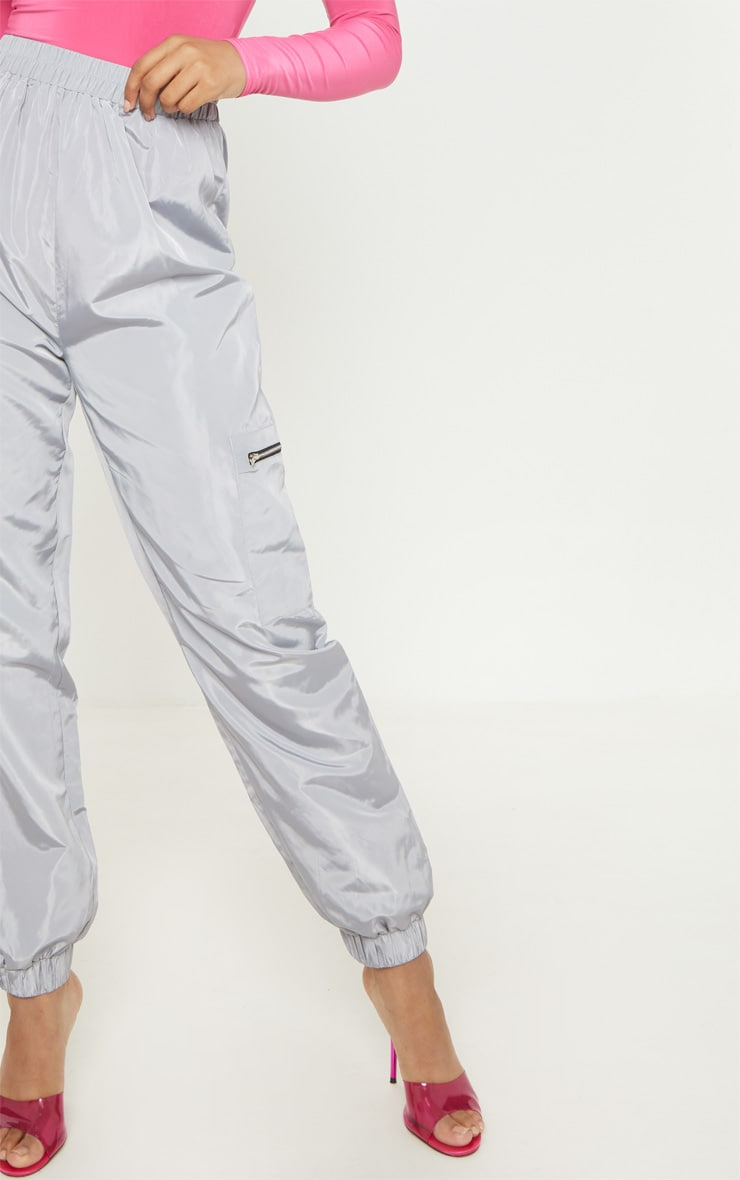 Tall Grey Zip Detail Shell Joggers 5