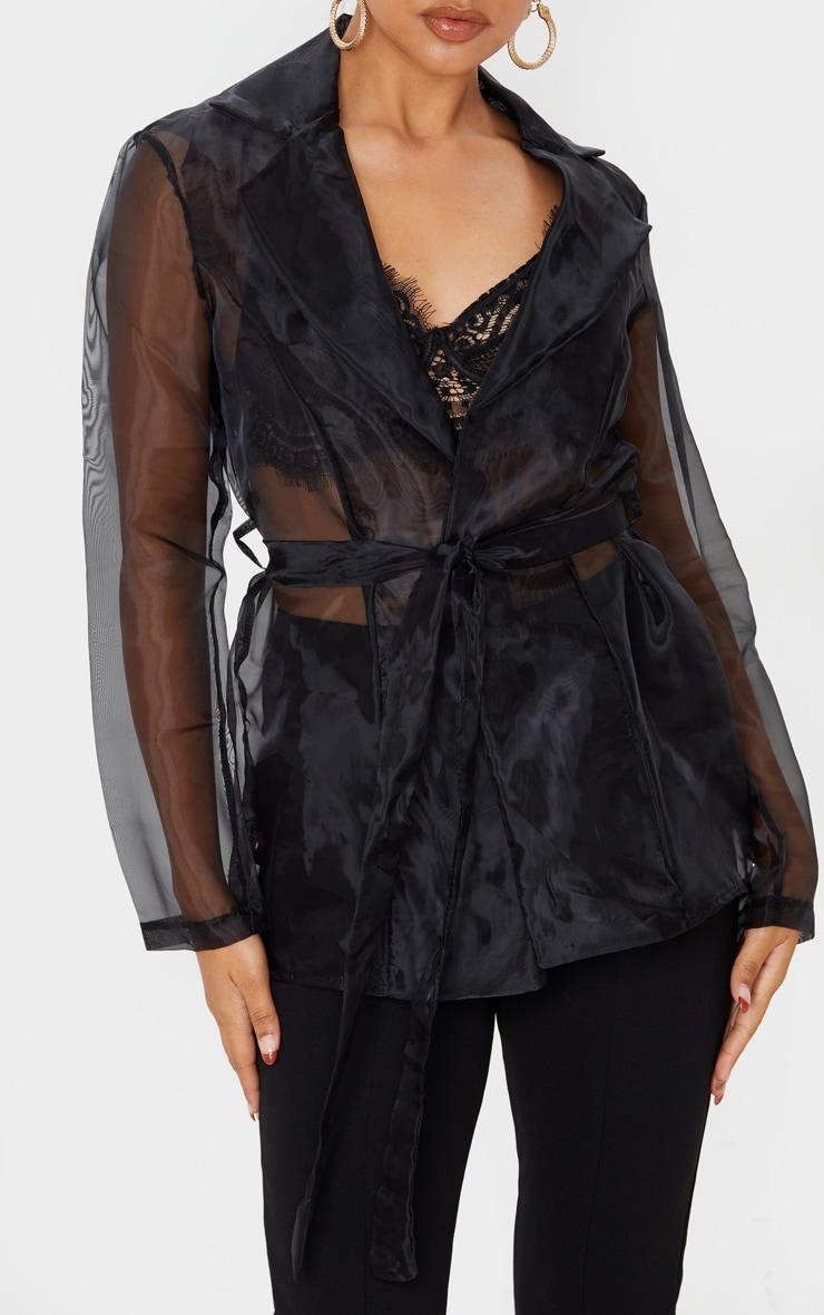 Black Organza Tie Front Blazer 5
