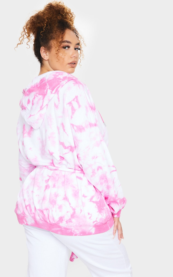 Plus Pink Tie Dye Loop Back Belted Hoodie 2