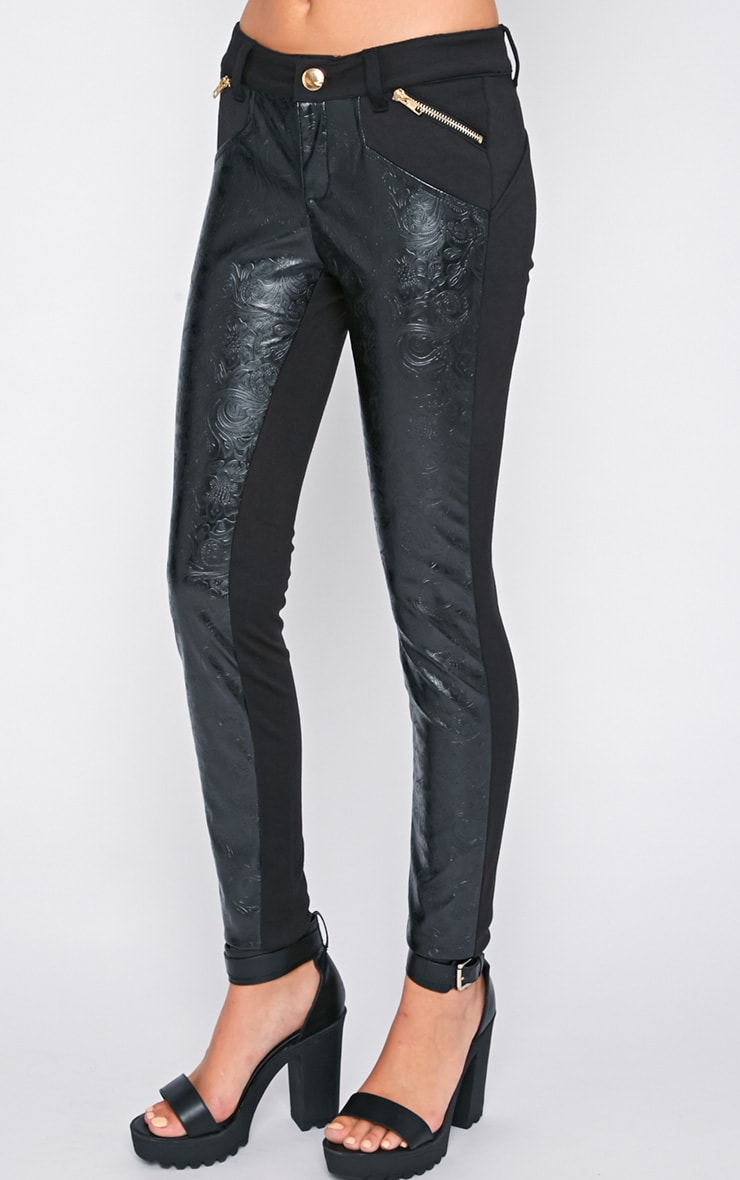 Sheree Black  Leather Panel Jeans With PU Floral Detail 4
