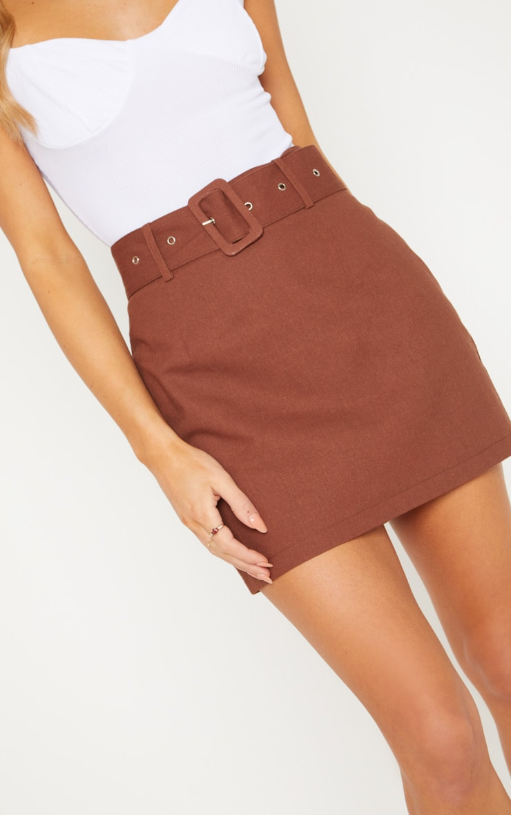 Chocolate Belted Cargo Mini Skirt 6