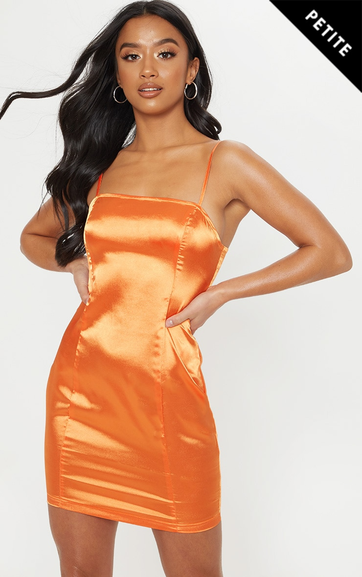 Petite Orange Satin Strappy Straight Neck Bodycon 1