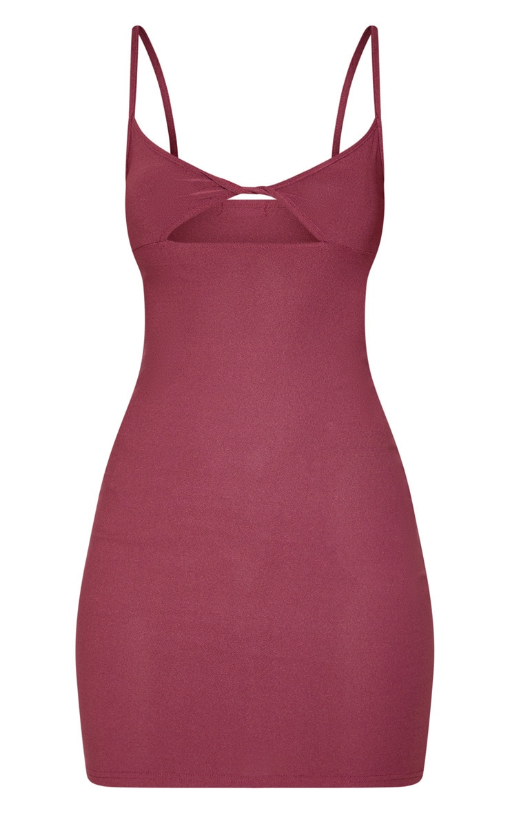 Aubergine Strappy Twist Front Bodycon Dress 3