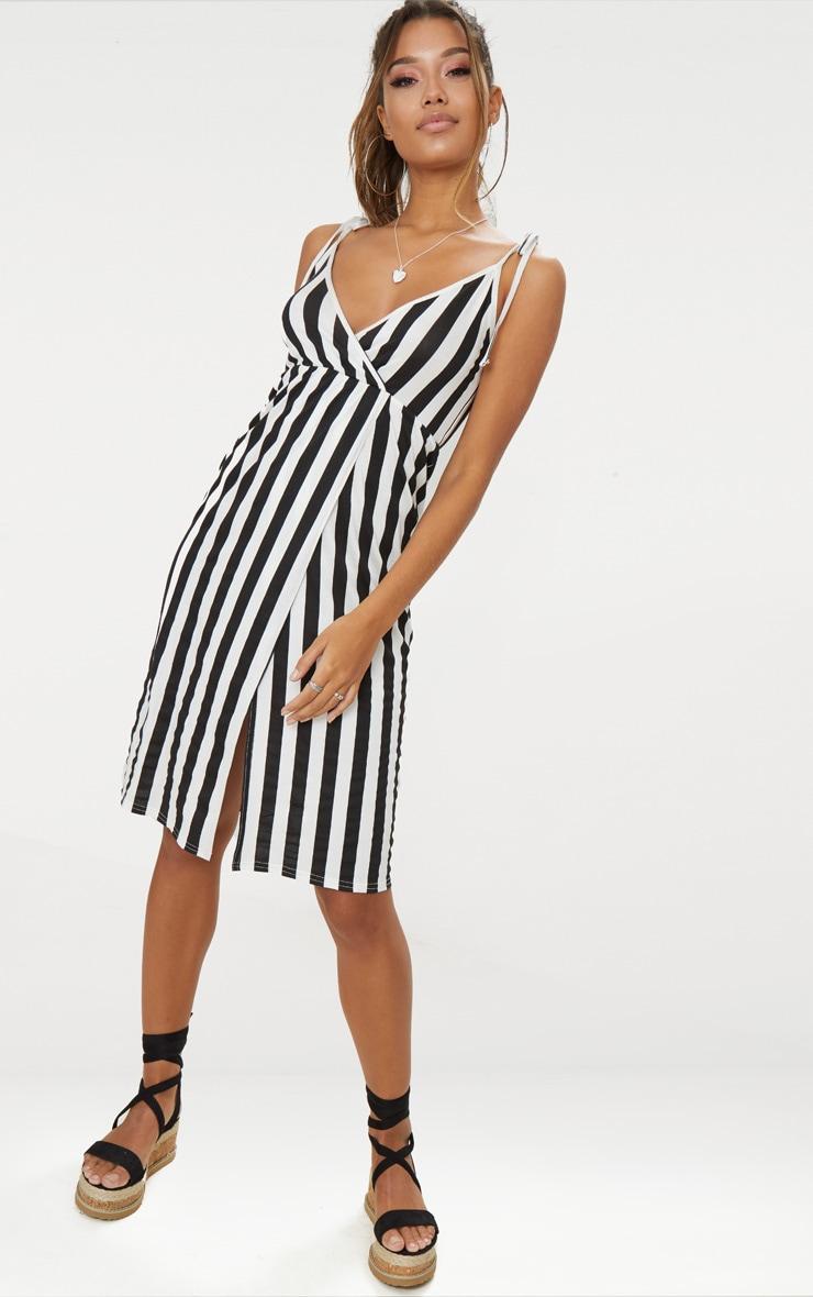 Black Stripe Plunge Wrap Detail Midi Dress 4